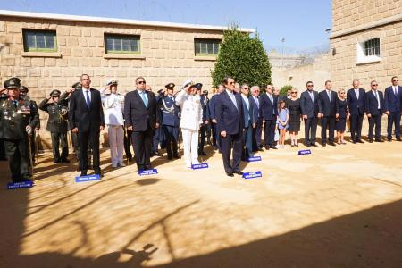 Defence Minister Panos Kammenos attends the celebration for the 58th  anniversary of the Independence of Republic of Cyprus